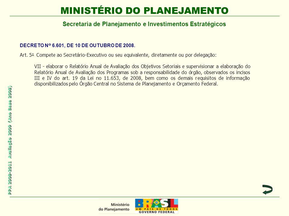 MINISTÉRIO DO PLANEJAMENTO Secretaria de Planejamento e Investimentos Estratégicos PPA 2008-2011 Avaliação 2009 (Ano Base 2008) Art.