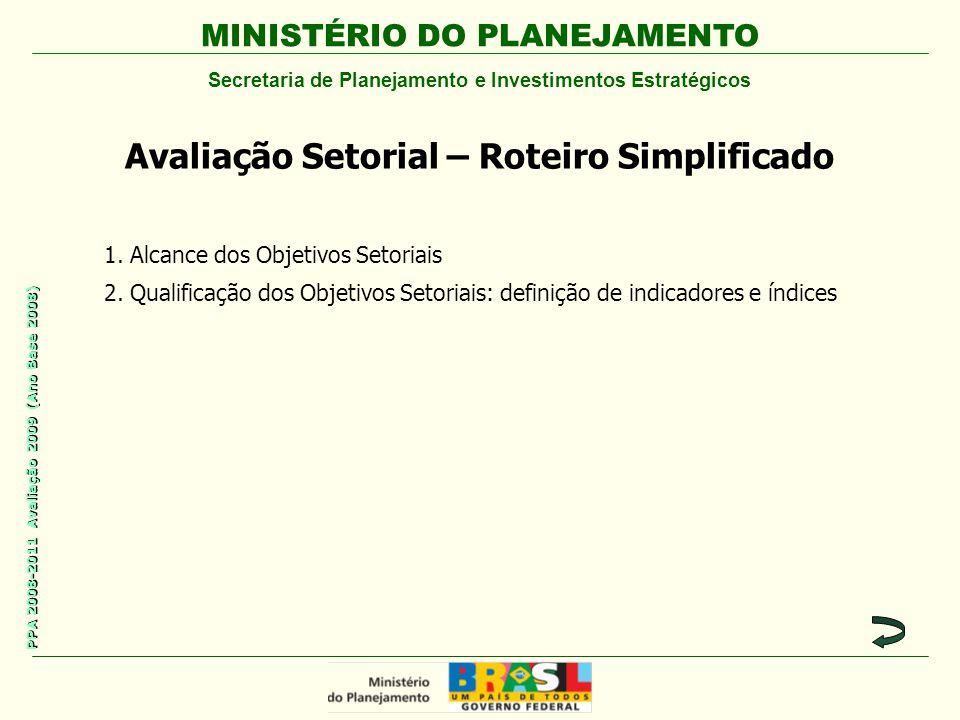MINISTÉRIO DO PLANEJAMENTO Secretaria de Planejamento e Investimentos Estratégicos PPA 2008-2011 Avaliação 2009 (Ano Base 2008) Avaliação Setorial – Roteiro Simplificado 1.