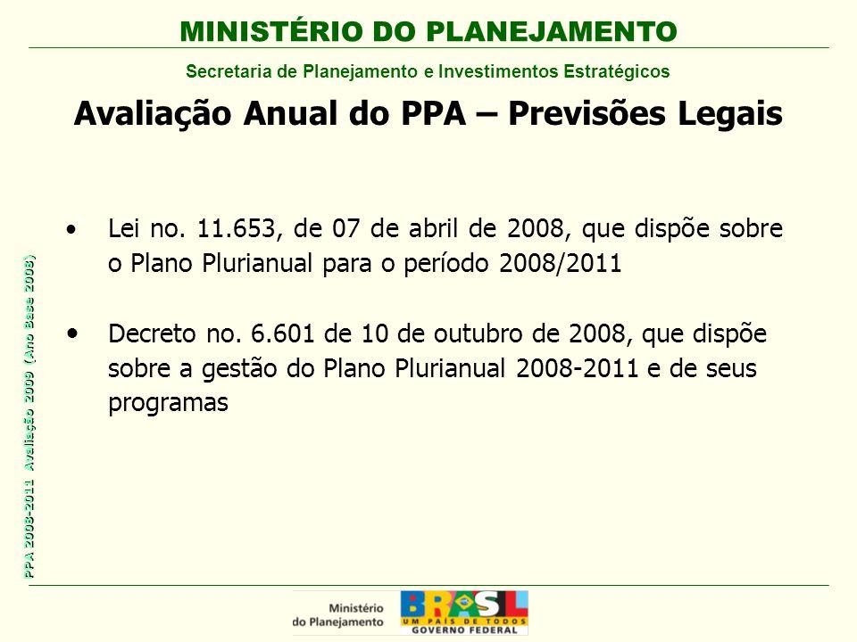 MINISTÉRIO DO PLANEJAMENTO Secretaria de Planejamento e Investimentos Estratégicos PPA 2008-2011 Avaliação 2009 (Ano Base 2008) Avaliação Anual do PPA – Previsões Legais Lei no.