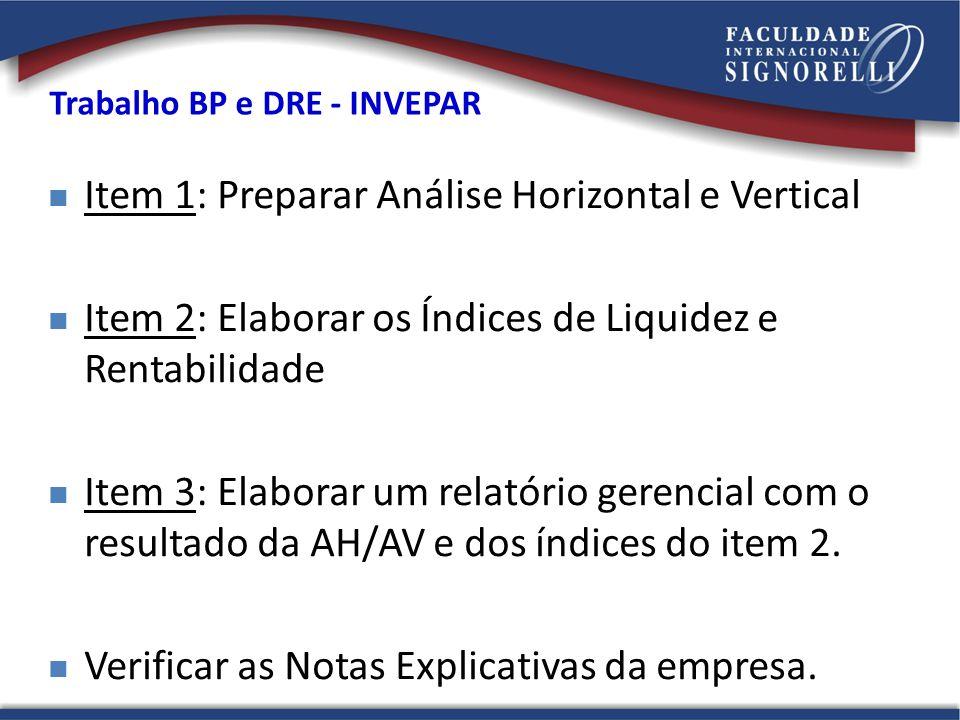 Trabalho BP e DRE - INVEPAR Item 1: Preparar Análise Horizontal e Vertical Item 2: Elaborar os Índices de Liquidez e Rentabilidade Item 3: Elaborar um