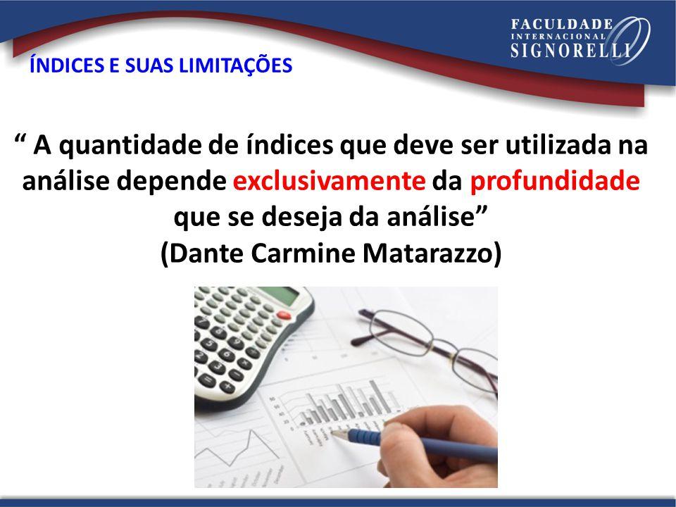 """"""" A quantidade de índices que deve ser utilizada na análise depende exclusivamente da profundidade que se deseja da análise"""" (Dante Carmine Matarazzo)"""