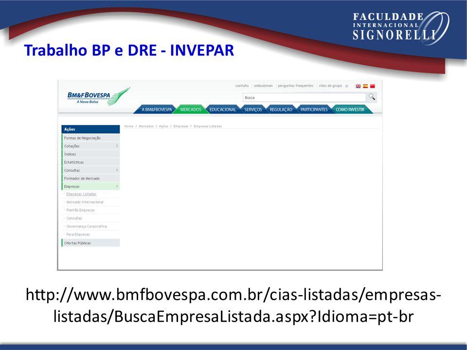 http://www.bmfbovespa.com.br/cias-listadas/empresas- listadas/BuscaEmpresaListada.aspx?Idioma=pt-br Trabalho BP e DRE - INVEPAR