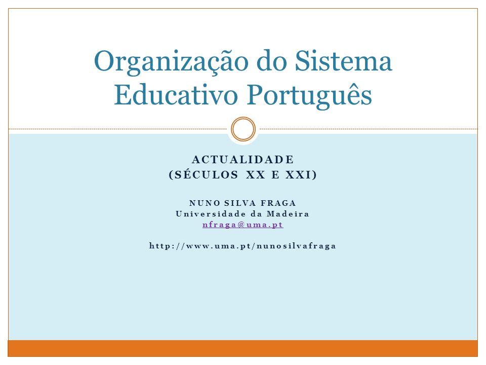 ACTUALIDADE (SÉCULOS XX E XXI) NUNO SILVA FRAGA Universidade da Madeira nfraga@uma.pt http://www.uma.pt/nunosilvafraga Organização do Sistema Educativo Português