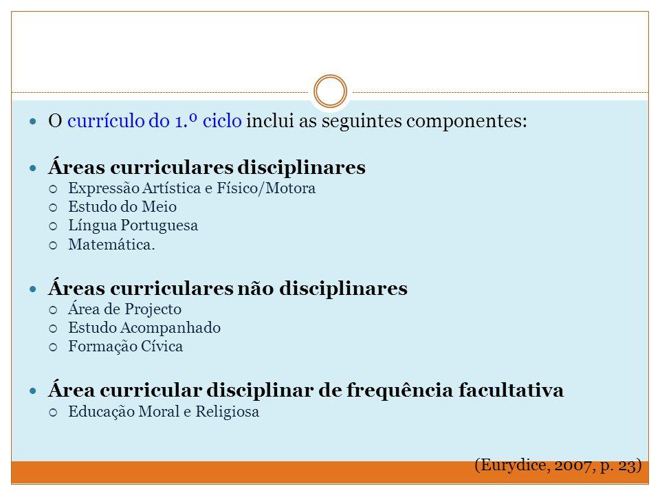 O currículo do 1.º ciclo inclui as seguintes componentes: Áreas curriculares disciplinares  Expressão Artística e Físico/Motora  Estudo do Meio  Língua Portuguesa  Matemática.