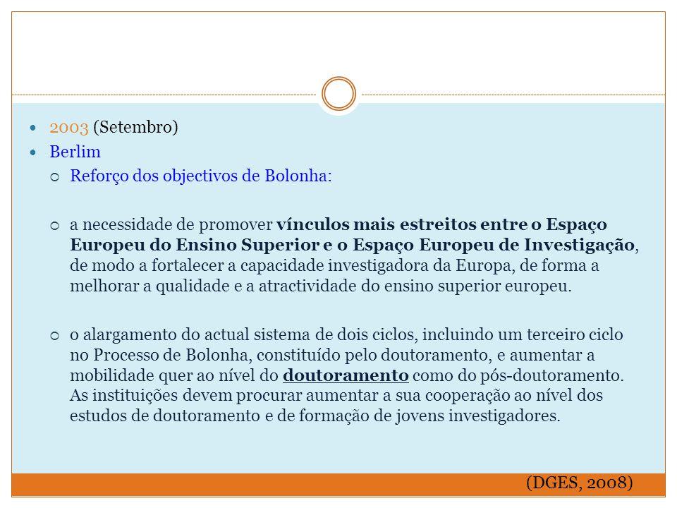 2003 (Setembro) Berlim  Reforço dos objectivos de Bolonha:  a necessidade de promover vínculos mais estreitos entre o Espaço Europeu do Ensino Superior e o Espaço Europeu de Investigação, de modo a fortalecer a capacidade investigadora da Europa, de forma a melhorar a qualidade e a atractividade do ensino superior europeu.