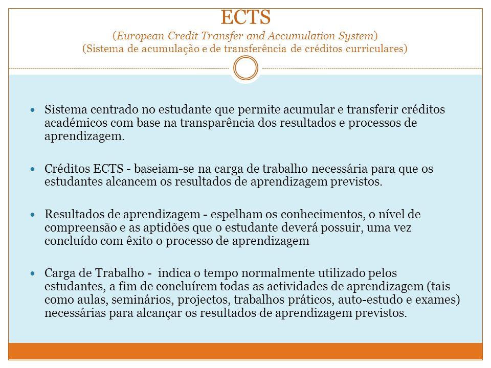 ECTS (European Credit Transfer and Accumulation System) (Sistema de acumulação e de transferência de créditos curriculares) Sistema centrado no estudante que permite acumular e transferir créditos académicos com base na transparência dos resultados e processos de aprendizagem.