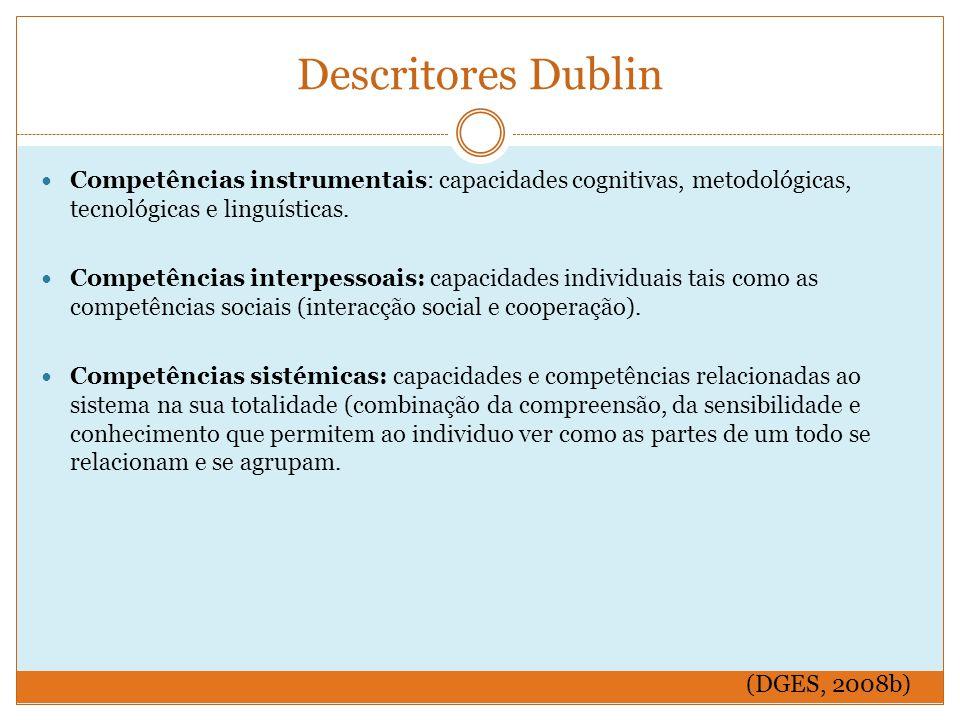 Descritores Dublin Competências instrumentais: capacidades cognitivas, metodológicas, tecnológicas e linguísticas.