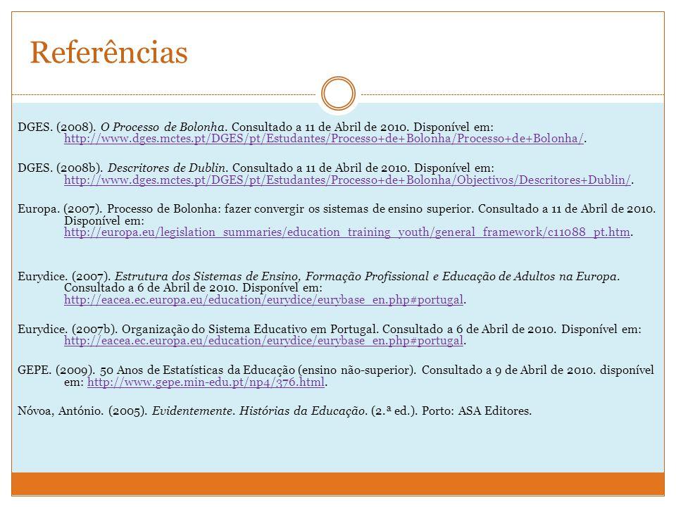 Referências DGES.(2008). O Processo de Bolonha. Consultado a 11 de Abril de 2010.