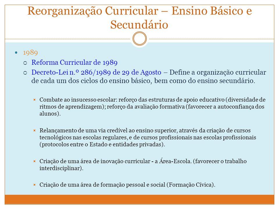 Reorganização Curricular – Ensino Básico e Secundário 1989  Reforma Curricular de 1989  Decreto-Lei n.º 286/1989 de 29 de Agosto – Define a organização curricular de cada um dos ciclos do ensino básico, bem como do ensino secundário.