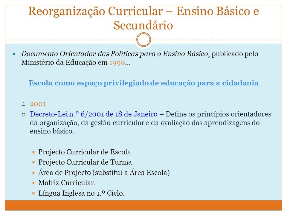 Exemplo de uma matriz curricular para o 1.º ciclo do ensino básico, segundo o Decreto-Lei 6/2001