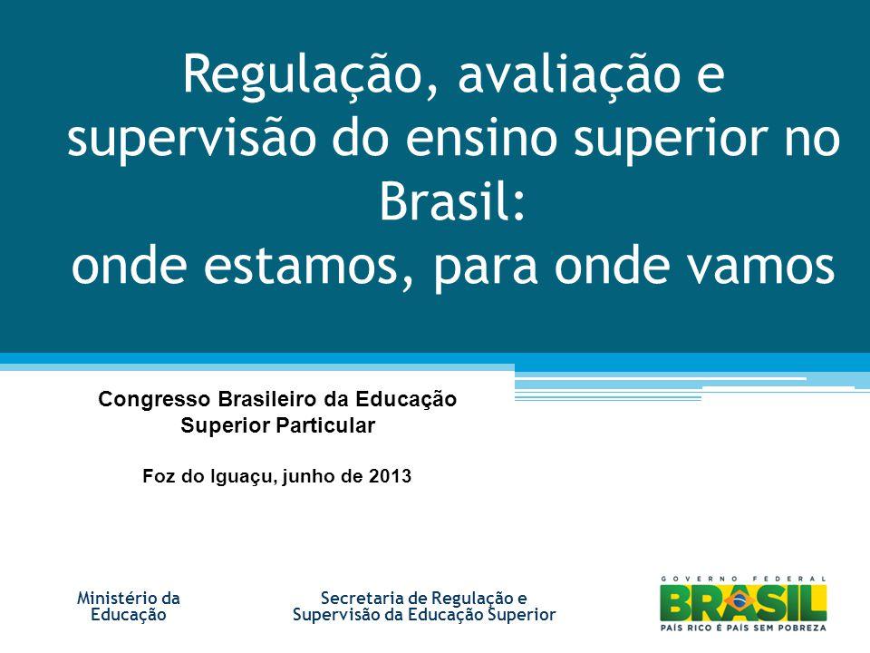 Regulação, avaliação e supervisão do ensino superior no Brasil: onde estamos, para onde vamos Ministério da Educação Congresso Brasileiro da Educação Superior Particular Foz do Iguaçu, junho de 2013 Secretaria de Regulação e Supervisão da Educação Superior