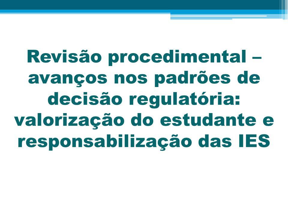 Revisão procedimental – avanços nos padrões de decisão regulatória: valorização do estudante e responsabilização das IES