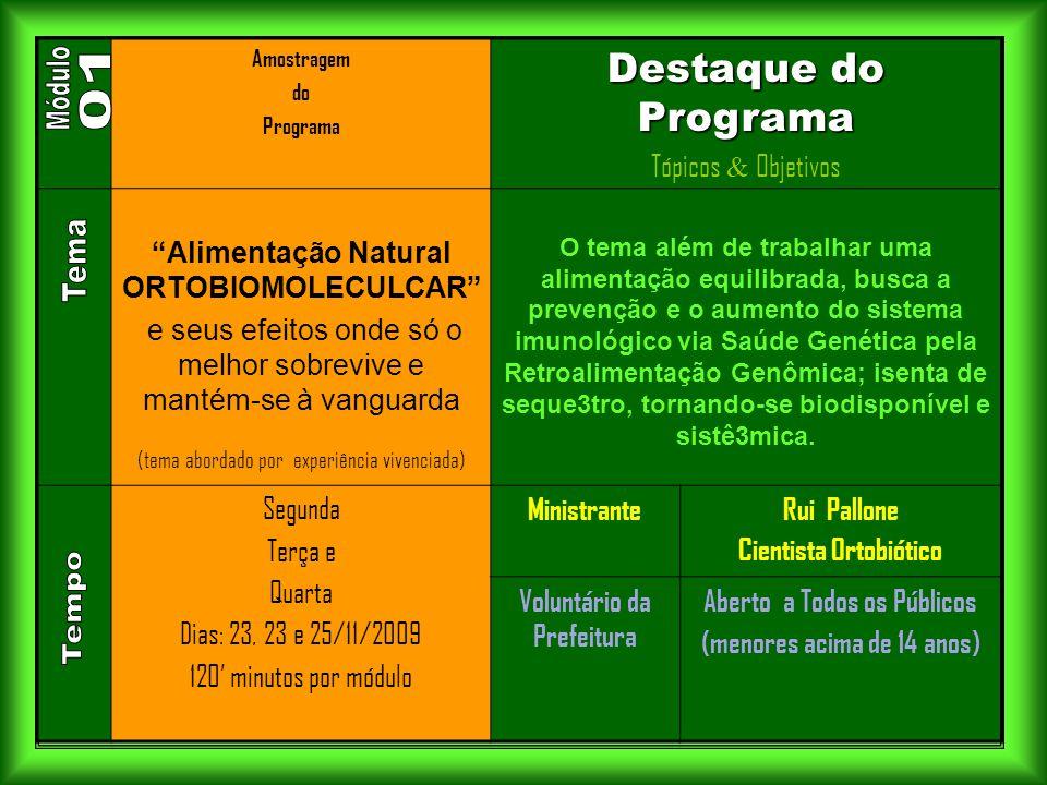 """. Amostragem do Programa Destaque do Programa Tópicos & Objetivos """"Alimentação Natural ORTOBIOMOLECULCAR"""" e seus efeitos onde só o melhor sobrevive e"""