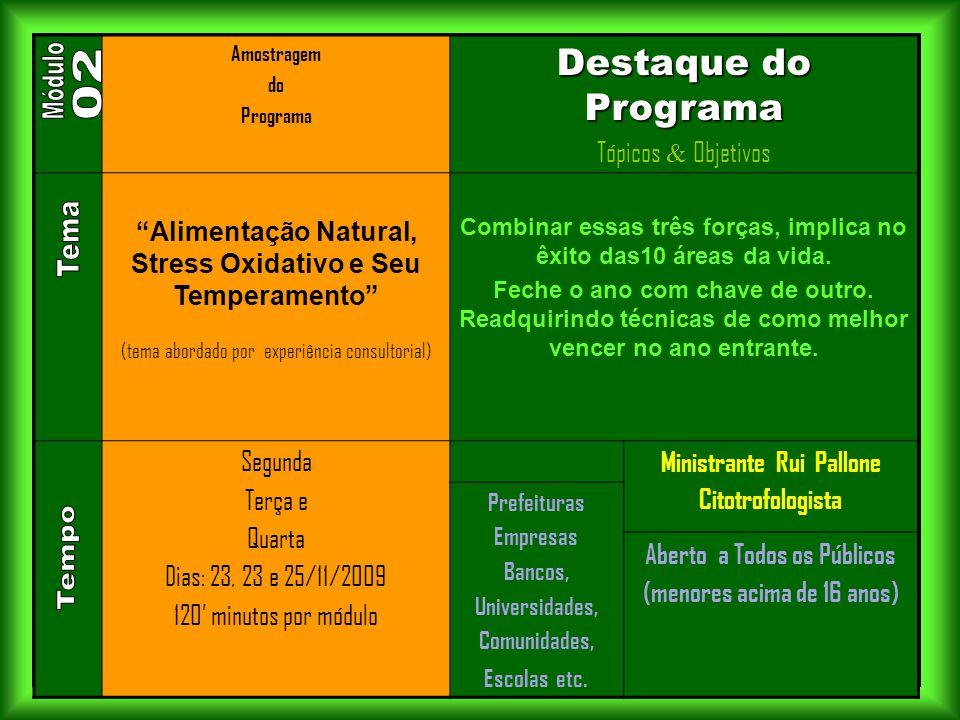 """. Amostragem do Programa Destaque do Programa Tópicos & Objetivos """"Alimentação Natural, Stress Oxidativo e Seu Temperamento"""" (tema abordado por experi"""