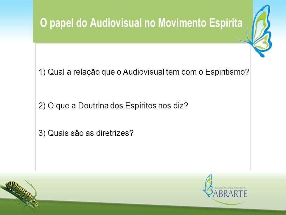 1) Qual a relação que o Audiovisual tem com o Espiritismo? 3) Quais são as diretrizes? 2) O que a Doutrina dos Espíritos nos diz?