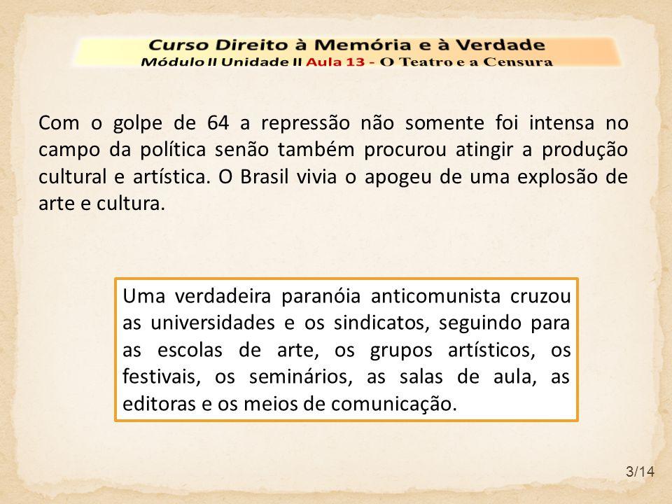 4/14 Os palcos se tornaram um espaço de debate onde se discutiam de forma apaixonada o momento histórico brasileiro.