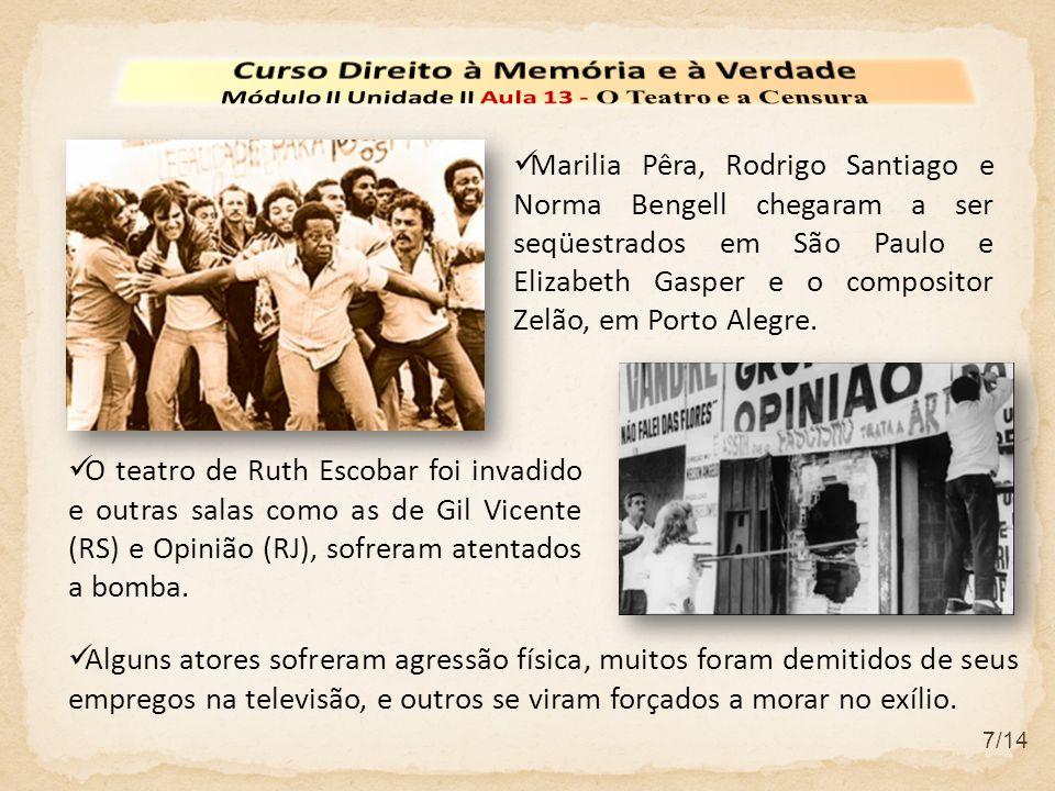 Marilia Pêra, Rodrigo Santiago e Norma Bengell chegaram a ser seqüestrados em São Paulo e Elizabeth Gasper e o compositor Zelão, em Porto Alegre.