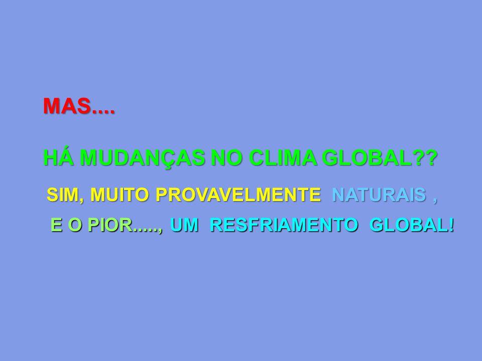 MAS.... HÁ MUDANÇAS NO CLIMA GLOBAL?? SIM, MUITO PROVAVELMENTE NATURAIS, E O PIOR....., UM RESFRIAMENTO GLOBAL!