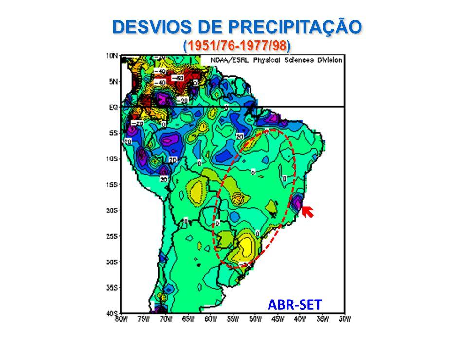 DESVIOS DE PRECIPITAÇÃO (1951/76-1977/98) ABR-SET 