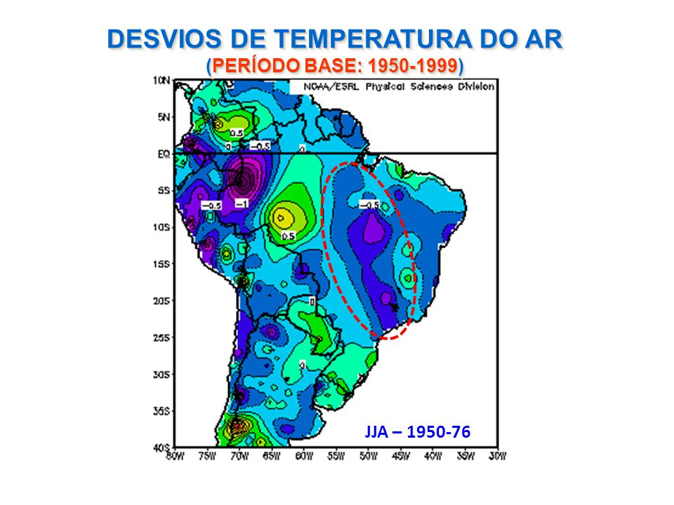 DESVIOS DE TEMPERATURA DO AR (PERÍODO BASE: 1950-1999) JJA – 1950-76