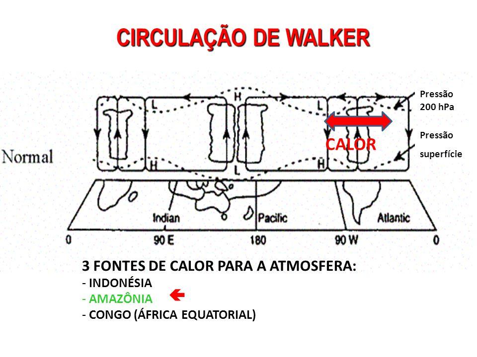 CIRCULAÇÃO DE WALKER Pressão 200 hPa Pressão superfície 3 FONTES DE CALOR PARA A ATMOSFERA: - INDONÉSIA - AMAZÔNIA - CONGO (ÁFRICA EQUATORIAL)  CALOR