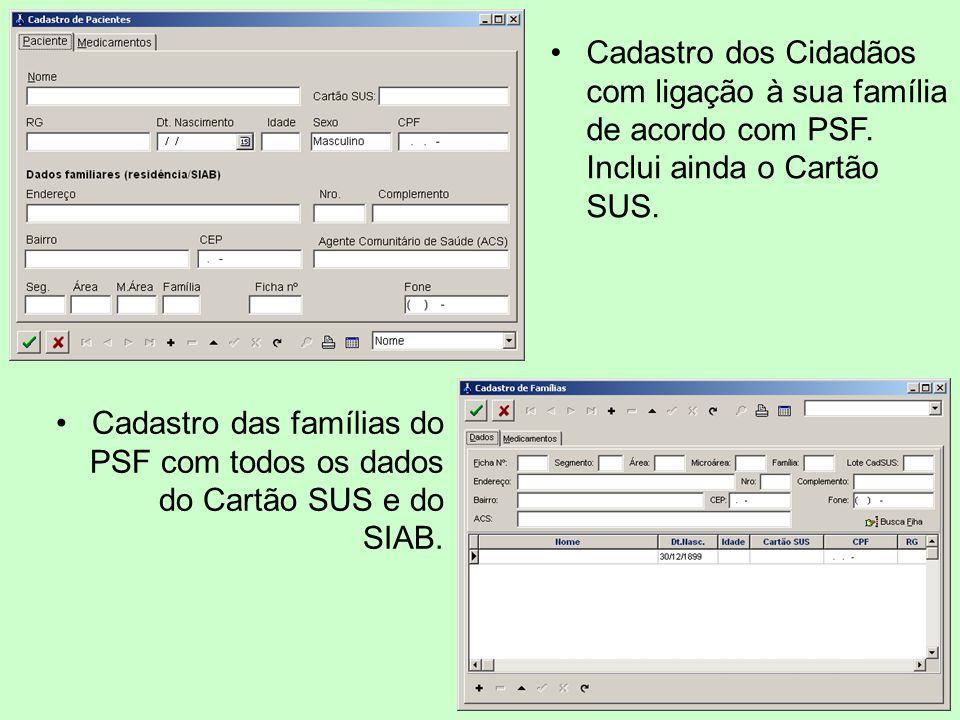 Cadastro dos Cidadãos com ligação à sua família de acordo com PSF. Inclui ainda o Cartão SUS. Cadastro das famílias do PSF com todos os dados do Cartã