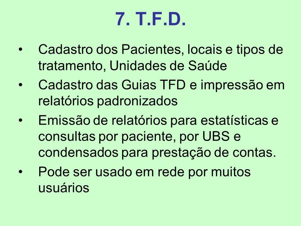 7. T.F.D. Cadastro dos Pacientes, locais e tipos de tratamento, Unidades de Saúde Cadastro das Guias TFD e impressão em relatórios padronizados Emissã