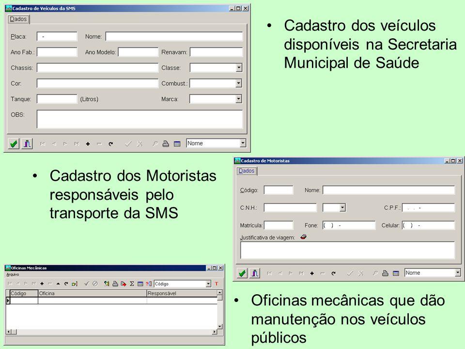 Cadastro dos veículos disponíveis na Secretaria Municipal de Saúde Cadastro dos Motoristas responsáveis pelo transporte da SMS Oficinas mecânicas que