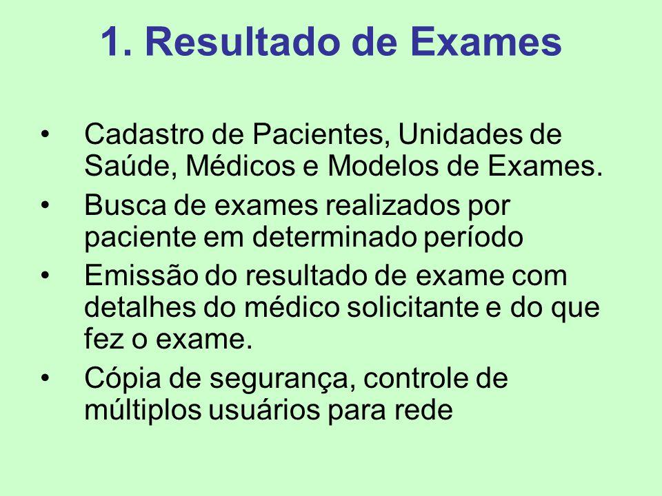 1. Resultado de Exames Cadastro de Pacientes, Unidades de Saúde, Médicos e Modelos de Exames. Busca de exames realizados por paciente em determinado p