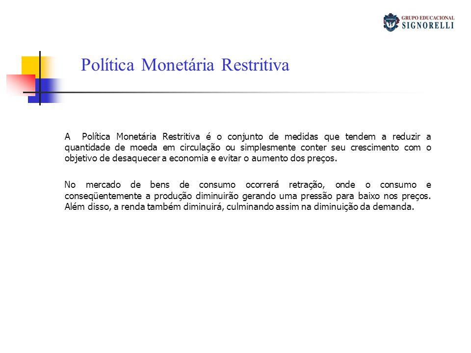 A Política Monetária Restritiva é o conjunto de medidas que tendem a reduzir a quantidade de moeda em circulação ou simplesmente conter seu cresciment