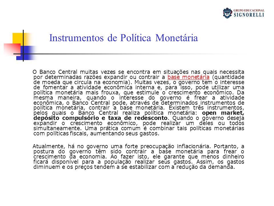 O Banco Central muitas vezes se encontra em situações nas quais necessita por determinadas razões expandir ou contrair a base monetária (quantidade de