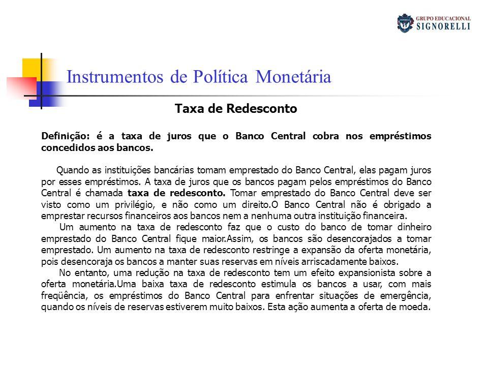 Taxa de Redesconto Definição: é a taxa de juros que o Banco Central cobra nos empréstimos concedidos aos bancos. Quando as instituições bancárias toma