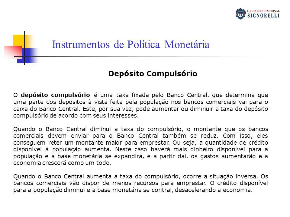 Instrumentos de Política Monetária Open Market O Banco Central muitas vezes entra no mercado para comprar ou vender títulos, esta política é chamada de open market (mercado aberto).
