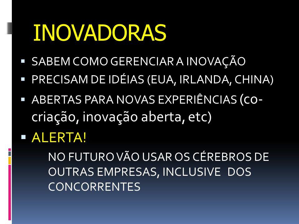 INOVADORAS  SABEM COMO GERENCIAR A INOVAÇÃO  PRECISAM DE IDÉIAS (EUA, IRLANDA, CHINA)  ABERTAS PARA NOVAS EXPERIÊNCIAS (co- criação, inovação aberta, etc)  ALERTA.