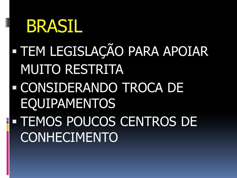 BRASIL  TEM LEGISLAÇÃO PARA APOIAR MUITO RESTRITA  CONSIDERANDO TROCA DE EQUIPAMENTOS  TEMOS POUCOS CENTROS DE CONHECIMENTO