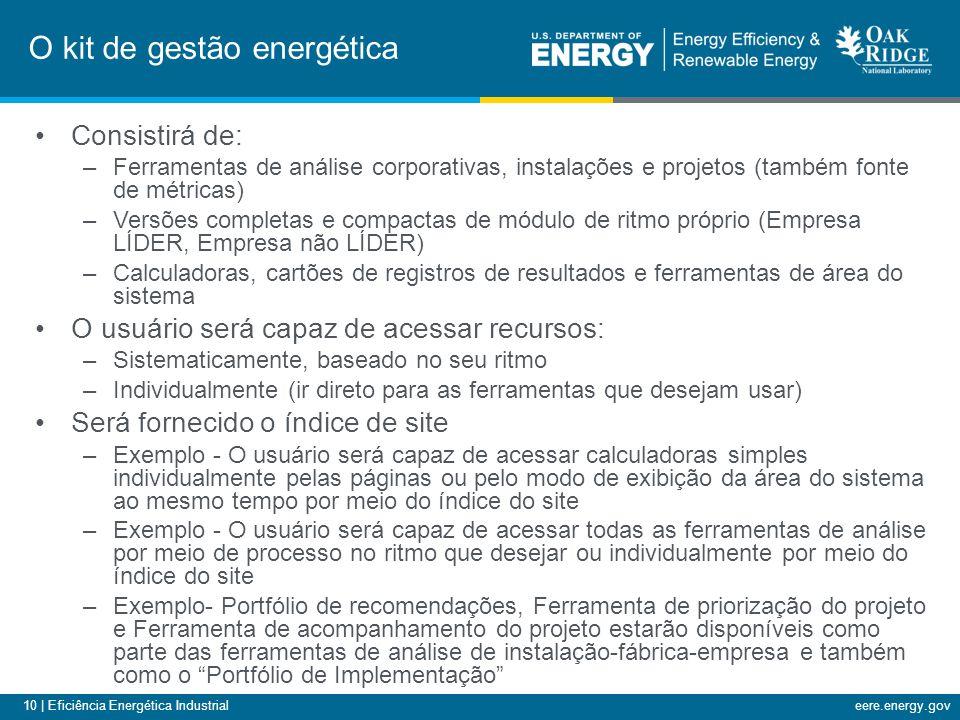 10 | Eficiência Energética Industrialeere.energy.gov Consistirá de: –Ferramentas de análise corporativas, instalações e projetos (também fonte de métr