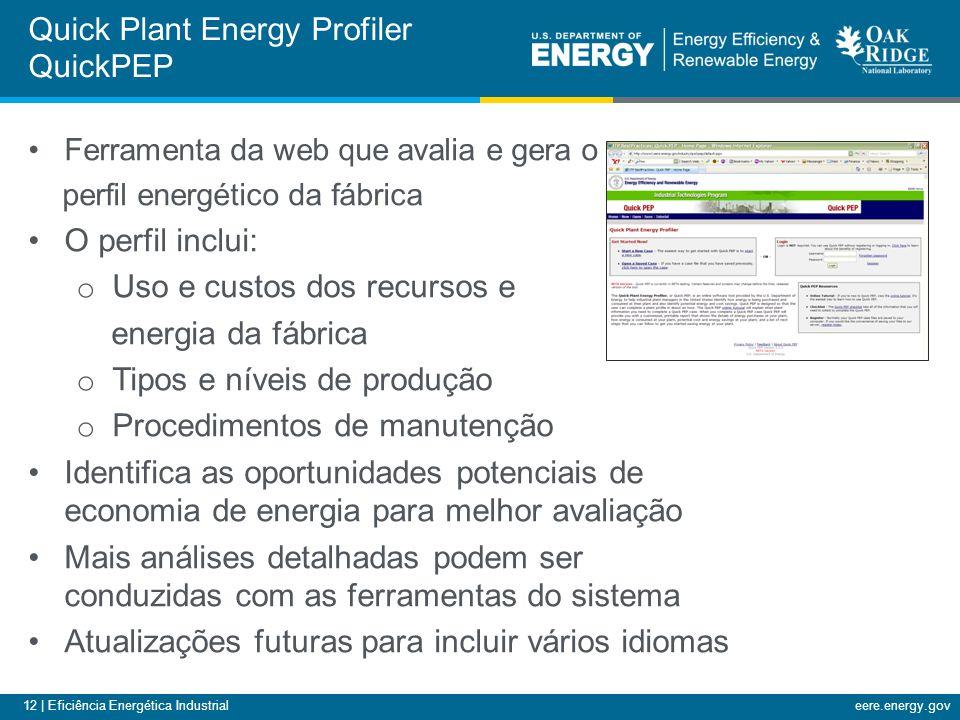 12 | Eficiência Energética Industrialeere.energy.gov Quick Plant Energy Profiler QuickPEP Ferramenta da web que avalia e gera o perfil energético da f