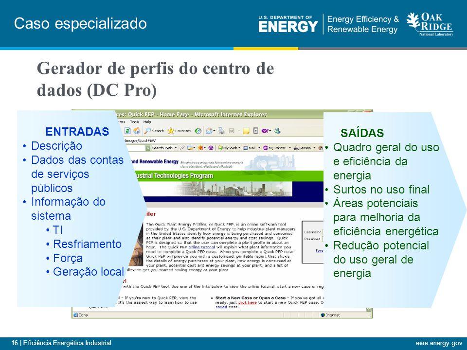 16 | Eficiência Energética Industrialeere.energy.gov SAÍDAS Quadro geral do uso e eficiência da energia Surtos no uso final Áreas potenciais para melh