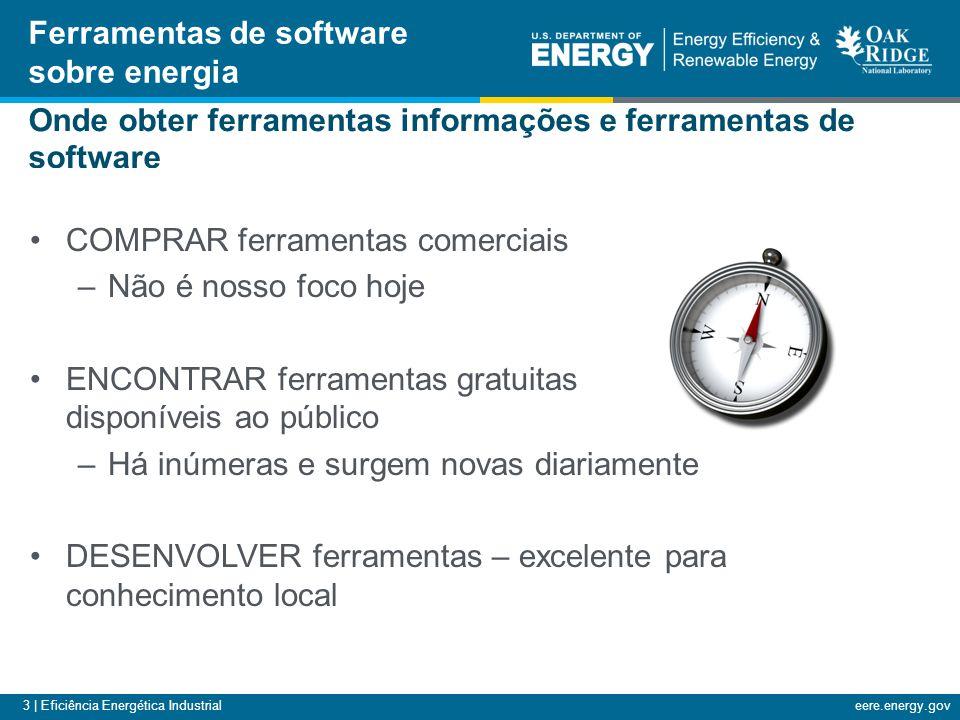 3 | Eficiência Energética Industrialeere.energy.gov Onde obter ferramentas informações e ferramentas de software COMPRAR ferramentas comerciais –Não é