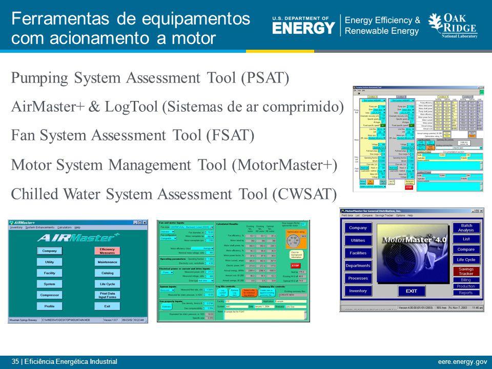 35 | Eficiência Energética Industrialeere.energy.gov Ferramentas de equipamentos com acionamento a motor Pumping System Assessment Tool (PSAT) AirMast