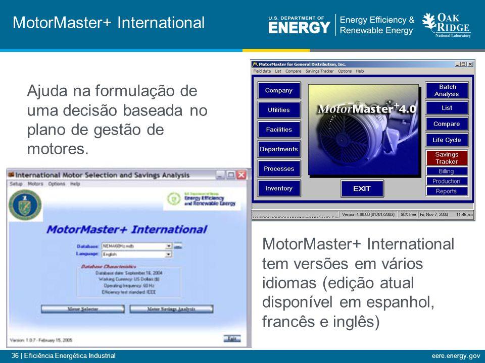 36 | Eficiência Energética Industrialeere.energy.gov MotorMaster+ International MotorMaster+ International tem versões em vários idiomas (edição atual