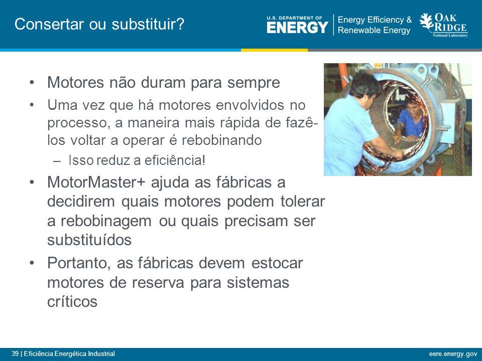 39 | Eficiência Energética Industrialeere.energy.gov Motores não duram para sempre Uma vez que há motores envolvidos no processo, a maneira mais rápid