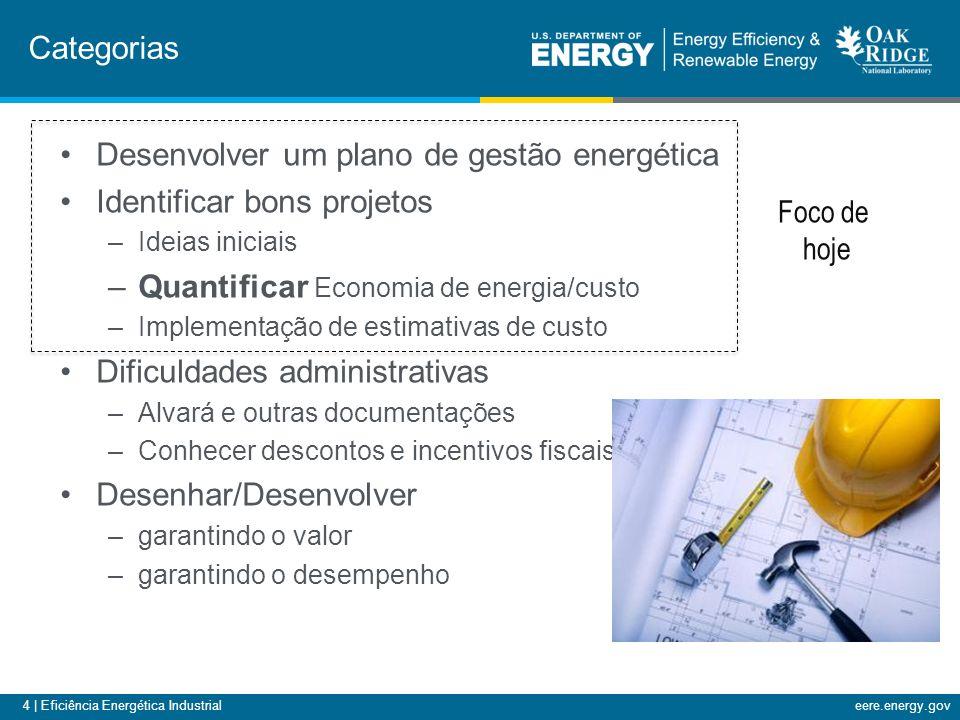 4 | Eficiência Energética Industrialeere.energy.gov Desenvolver um plano de gestão energética Identificar bons projetos –Ideias iniciais –Quantificar