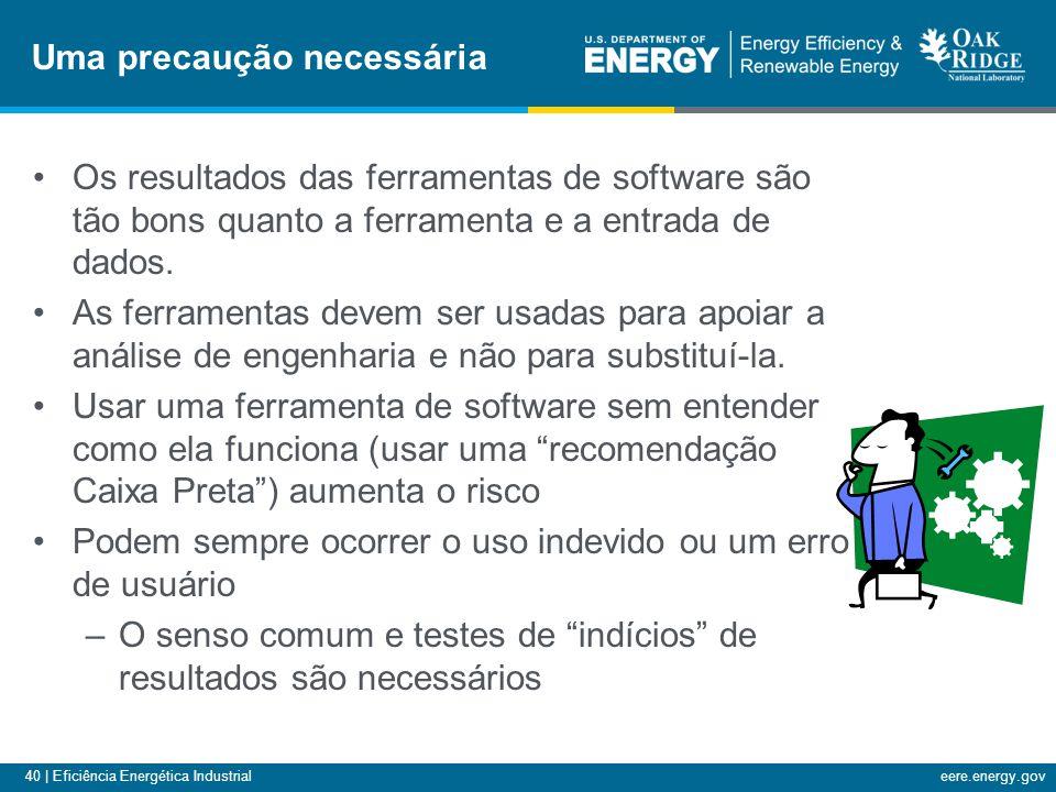 40 | Eficiência Energética Industrialeere.energy.gov Os resultados das ferramentas de software são tão bons quanto a ferramenta e a entrada de dados.