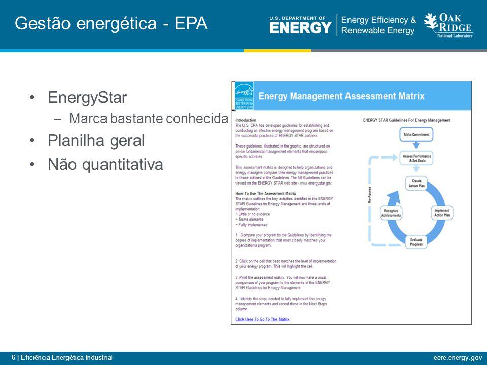 7 | Eficiência Energética Industrialeere.energy.gov Recentemente surgiram várias normas novas Reconhecer que muitos projetos bons não são realizados –Um plano de gestão energética pode aumentar a atividade Falou-se a respeito em outro momento neste workshop Padrões de gestão energética O Sistema de Gestão Energética (ANSI/MSE 2000-2008)