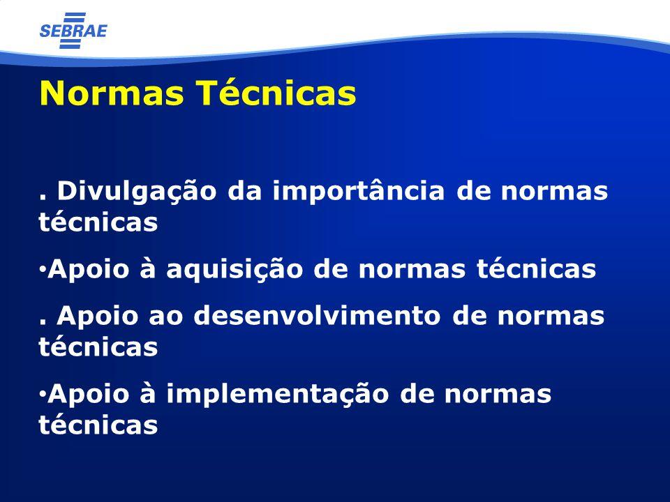 Normas Técnicas. Divulgação da importância de normas técnicas Apoio à aquisição de normas técnicas. Apoio ao desenvolvimento de normas técnicas Apoio