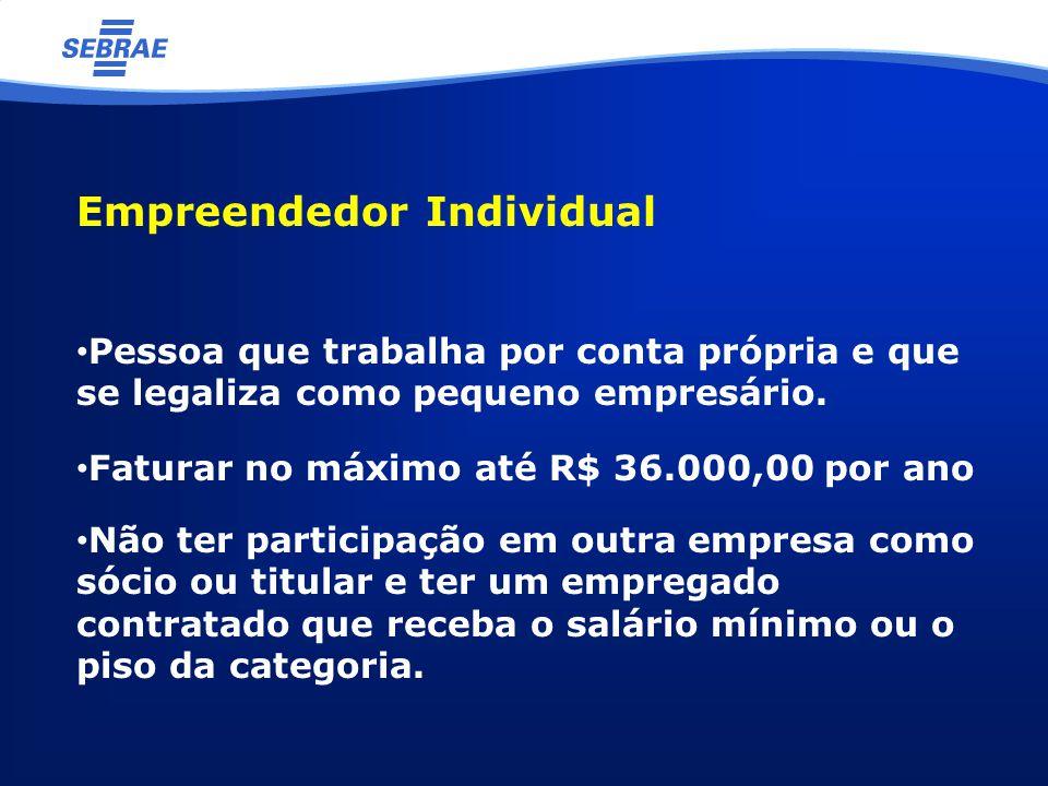 Empreendedor Individual Pessoa que trabalha por conta própria e que se legaliza como pequeno empresário.
