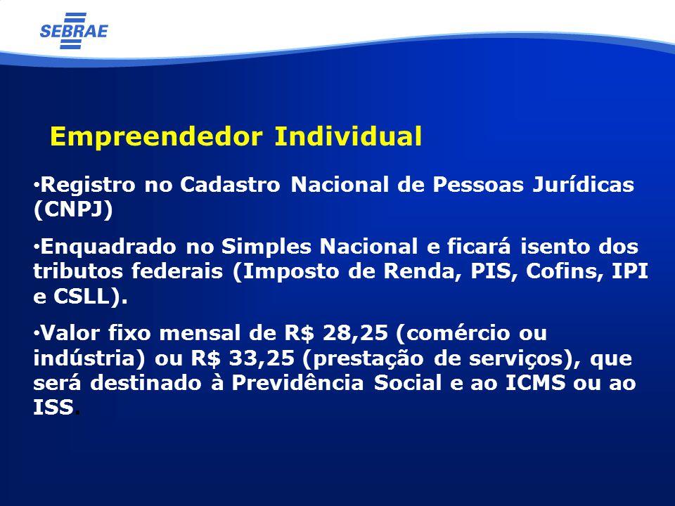 Empreendedor Individual Registro no Cadastro Nacional de Pessoas Jurídicas (CNPJ) Enquadrado no Simples Nacional e ficará isento dos tributos federais (Imposto de Renda, PIS, Cofins, IPI e CSLL).