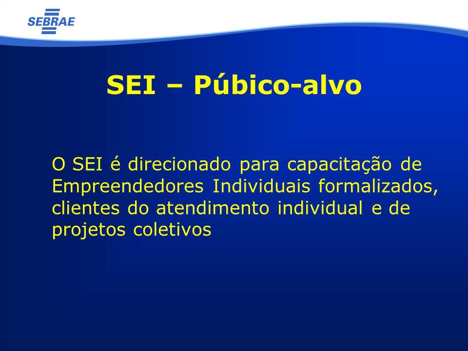 SEI – Púbico-alvo O SEI é direcionado para capacitação de Empreendedores Individuais formalizados, clientes do atendimento individual e de projetos coletivos