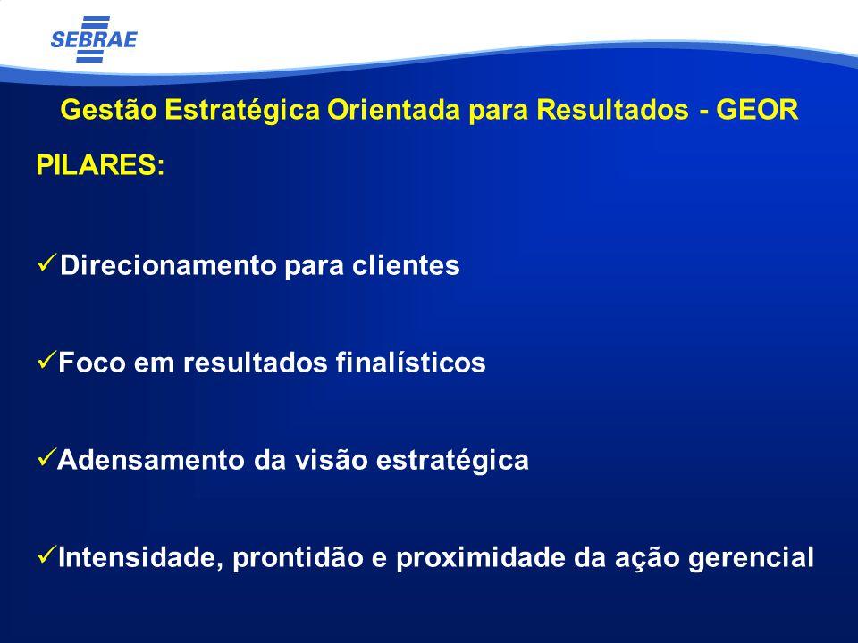 Gestão Estratégica Orientada para Resultados - GEOR PILARES: Direcionamento para clientes Foco em resultados finalísticos Adensamento da visão estratégica Intensidade, prontidão e proximidade da ação gerencial